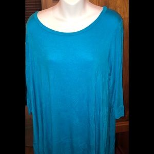 Bright Blue 3/4 Sleeve Love In Tunic